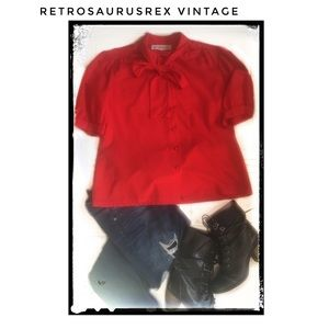 Vintage 1960's Red Pussy Bow Librarian Blouse 1X